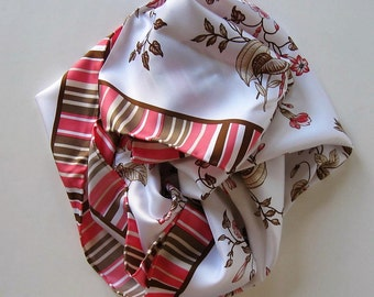 """Vintage Worth Silk Scarf, Pink and Brown Floral, 34"""" x 34"""", Hand rolled hem, Gucci style, Woman's fashion accessory, gift idea"""