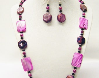 Hot Pink Shell Rectangle Bead Necklace/Bracelet/Earrings Set