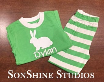 1/2 Price Green Easter/Spring Pajamas with bunny and name Dylan, size 12/18 months