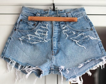 High Waisted Shorts Denim Vintage Destroyed Ripped Cut Off Jeans Light Blue Color Summer Clothing Women Girls W26 / Small Size