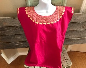 Mexican Embroidered Bright Pink Top (Small)