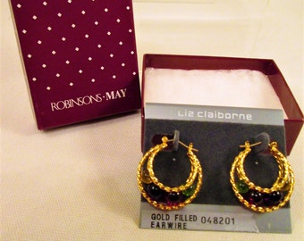 Gold Liz Claiborne Double Hoop Earrings 14k GF Ear Wires NOS Vintage Jewelry Gift Mother's Day Birthday