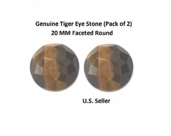 100% Natural Tiger Eye 20 MM Faceted Round (Pack of 2)