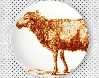 Sheep melamine plate in exuberance orange