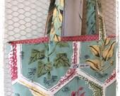 Vintage fabric tote bag - duck egg botanical