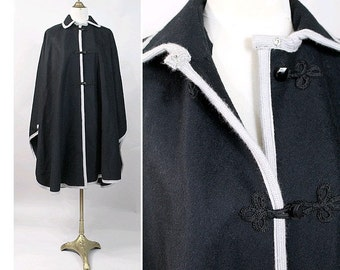 1970 Black wool Cape I 70S Russian style black cape