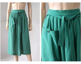 1980s Rodier Paris wrap green skirt / 80s cotton gauze wrap Skirt/ Vintage green cotton gauze  midi skirt