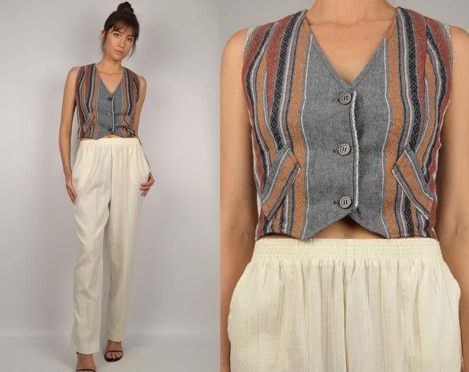 70's Woven Striped Vest