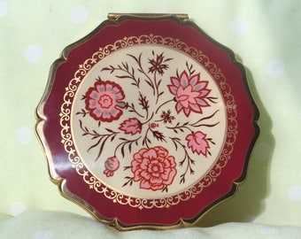 FREE SHIPPING Unused Beautiful Dusky Pink Floral Design Gold Tone Stratton Queen Convertible Powder Compact Mirror Bridesmaid Birthday Gift