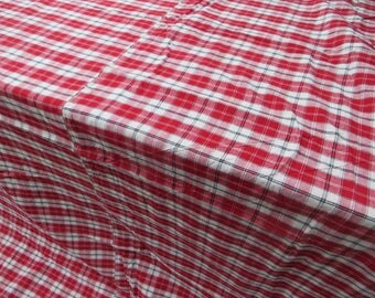 "Unused Antique Duvet Cover Check Linen  White Red Black  Kelsch Single Bed Twin Bed Bedlinen Bedding Blanket Bedspread 61"" by 72 Upholstery"