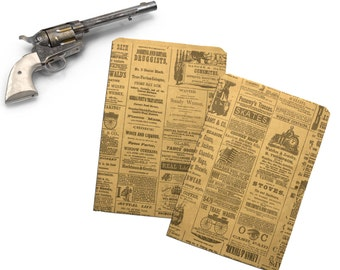 50 6x9 Newspaper print Paper Kraft Bags,  Vintage style Newsprint Favor Craft Bags
