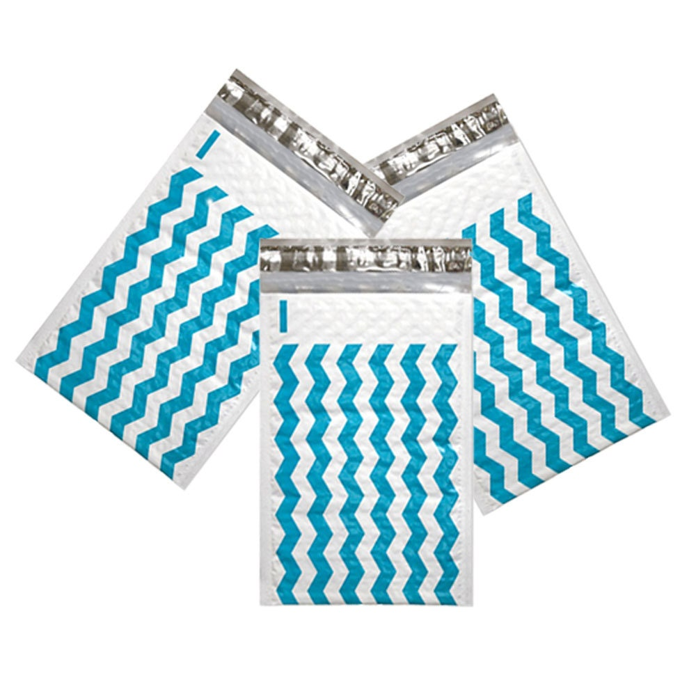 50 Pack Teal 4x8 Chevron Bubble Mailers Padded Envelopes