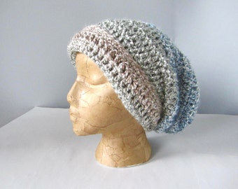 Crochet Baby Blue, Light Blue, Blue Grey, Blue Gray Tan, Beige, Sand, Ombre Handmade Slouchy Hat, Beanie Hat, Adult Hat