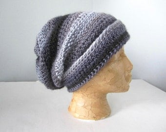 Crochet Black, Warm Gray, Charcoal, Light Gray, Grey Multicolored Striped Slouchy Hat, Beanie Hat, Adult Hat