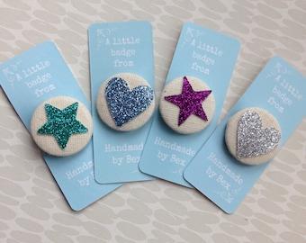 Set of 4 brooches- glitter badges, pins, handmade badges, friendship, valentines badges