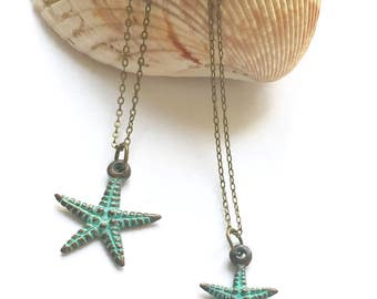 Starfish necklace, mother daughter set, copper patina jewelry, small or large patina starfish