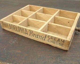 antique wooden philadelphia cream cheese divided box drawer