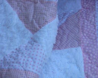 Quilt - Baby Girl Quilt - Precious Pink and White Baby Quilt and Bib and Burp Cloth Set  - Shower Gift