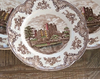 Johnson Brothers Old Britains Castles Dinner Plates Set of 4 Brown Multicolor English China Blarney Castle