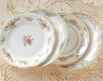 Mismatched Cottage Style Vintage Pink Plates, Set of 4, Dessert Plates, Bread and Butter, Wedding, Tea Party, Shabby Chic, Replaceme