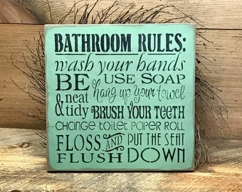 Bathroom Signs Rules wooden bathroom sign | etsy