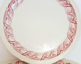 4 Vintage Restaurantware Dinner Plates by Syracuse China - Red Trumpet Vine - Flower Rim