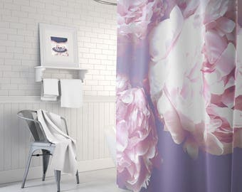 Peony flower shower curtain, long shower curtain