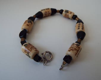 """Art Deco Chinese export  porcelain calligraphy beads  onyx  jade bracelet sterling silver clasp Chinese characters 7"""""""