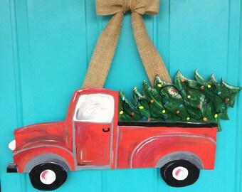 Christmas door hanger, Christmas Tree Truck door hanger, Christmas door sign