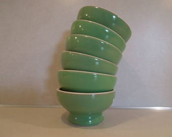 Hall Restaurant Ware Bowls Set of Six Green and White