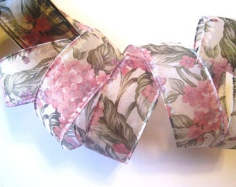 REMNANT - Sheer Wired Floral Ribbon, Pink, 1 1/2 inch wide, For Gift Packing, Wreaths, Center Pieces, Home Decor, Romantic Crafts.