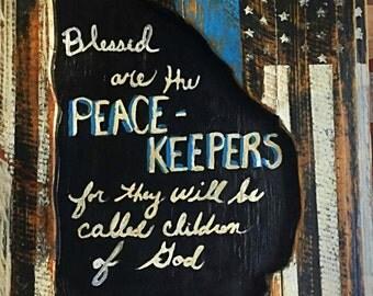 Police Officer's Wall Art by artist Matt Wolfe-Handmade Reclaimed Wood