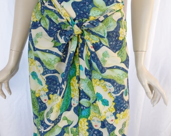 80s LAUREL little mermaid silk skirt with front tie wraps/ pencil with side panels/cobalt turqouise indigo: size EU 36- fits like US6 woman