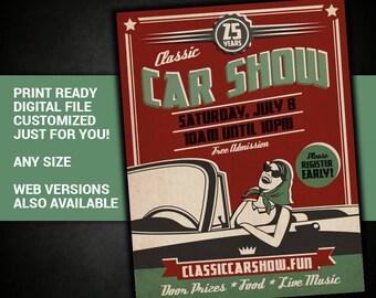 Classic Car Show, meetup, car, auto, automobile, antique, cruise in, flyer, car club, invite, printable, customized, invitation, postcard