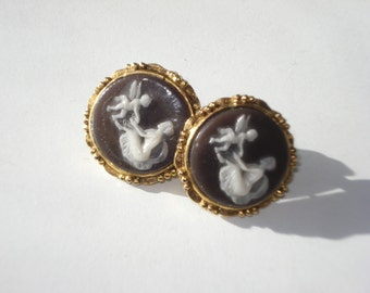 Vintage Cameo Earrings - Gold Tone Dark Purple cameo Pierced Costume Jewelry