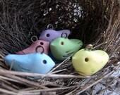 Spring Pastel Bird- polymer clay rustic bird bead. lime rose lavender sky blue buttercup yellow birds. polymer bird charm. Jettabugjewelry