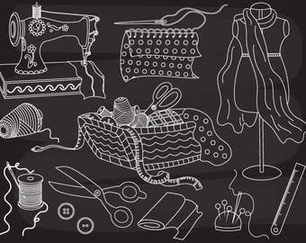 Chalkboard Sewing Clipart - Digital Vector Sewing Machine, Chalkboard Fabric Clip Art