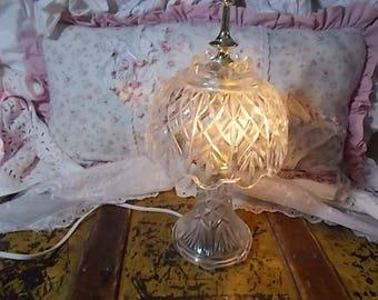 Crystal Small Night Light Lamp, Vintage Crystal Night Light Lamp,  Bedside Lamp, Night Light lamp, Vintage Lamp, Vintage Home Decor
