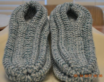Slippers-Mens Light Blue Extra Thick Knitted