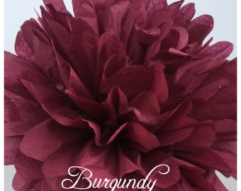 Tissue Paper Pom Poms: Burgundy  --  Or Choose Your Colors-- Baby Shower/ Nursery/ Bedroom/ Party Decorations tissue pom