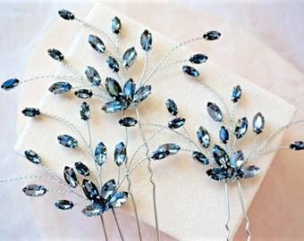 Black Rhinestone Hair Pins,Black Bridal Hair Pins,Black Wedding Hair Pins,Black Hair Accessories,Black Hair Piece,Black Crystal Hair Pins