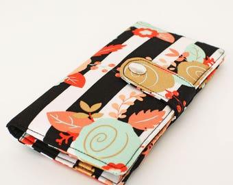 Bifold Organizer Wallet, Credit Card Wallet, Women's Long Wallet, Floral Fabric Wallet, Smart Phone Wallet - gold pink roses black stripes