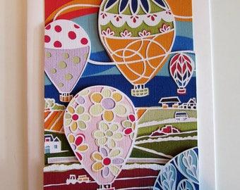 Papercut art hot air ballons 3d blank greetings card