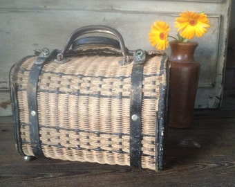 French Wicker Basket Market Provisions Antique 1800s Panier de Ferme