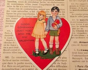 Vintage Valentine / Valentine Boy Girl Die Cut German 1930's-1940's Signed Valentine