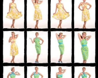 Clearance DESIGNER SAMPLE Yellow Hawaiian Print Vacation Dress