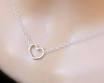 Sterling Silver Heart Bracelet, Open Heart Bracelet, Tiny Heart, Valentines Day Gift- Gold Heart Bracelet - Rose Gold Heart Bracelet