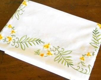 vintage floral embroidered tablecloth vintage white tablecloth floral tablecloth embroidered yellow floral tablecloth vintage embroidery