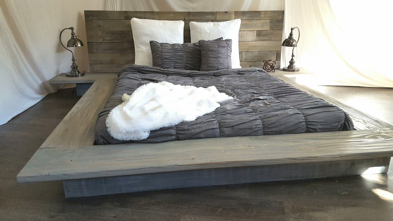 christine modern sleek low platform solid wood bed attached nightstandtables. christine modern sleek low platform solid wood bed attached