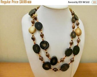 On Sale Vintage Horn Brass and Wooden Beaded Necklace Item K # 2132